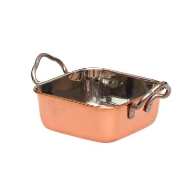 Сковорода для подачи 11*11*4 см, нержавейка с медным напылением арт. 71002055